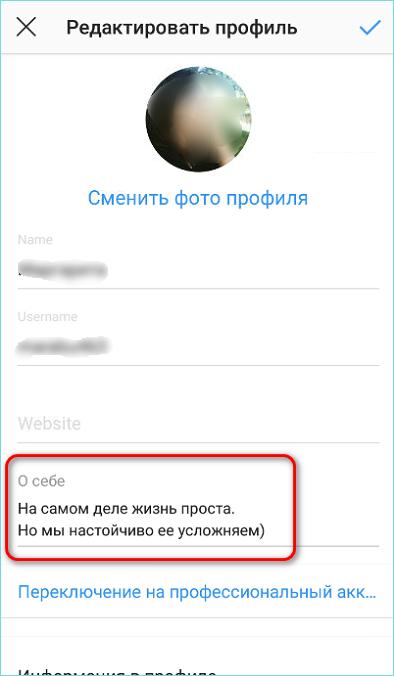 Блок о себе в Инстаграм