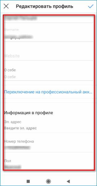 Информация о себе Instagram